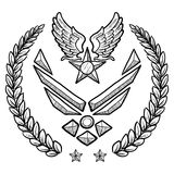 Modern US Air Force Insignia with Wreath. Doodle style military rank insignia for US Air Force, modern with abstract eagle wings and star Royalty Free Stock Photography