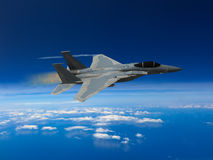 Modern US fighter plane. Computer Illustration - Modern US style jet fighters at high altitlutde in fast flight Royalty Free Stock Image