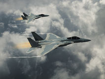 Modern US fighter plane. Computer Illustration - Modern US style jet fighters at high altitlutde in fast flight Stock Images