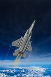 Modern US fighter plane. Computer Illustration - Modern US style jet fighters at high altitlutde in fast flight Stock Photos