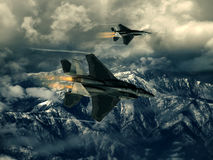 Modern US fighter plane. Computer Illustration - Modern US style jet fighters at high altitlutde in fast flight Stock Photography