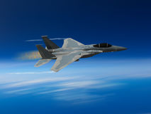 Modern US fighter plane. Computer Illustration - Modern US style jet fighters at high altitlutde in fast flight. Blurred motion background Royalty Free Stock Images