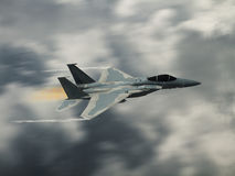 Modern US fighter plane. Computer Illustration - Modern US style jet fighters at high altitlutde in fast flight. Blurred motion background Stock Images