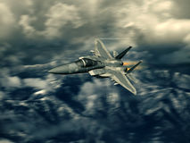 Modern US fighter plane. Computer Illustration - Modern US style jet fighters at high altitlutde in fast flight. Blurred motion background Stock Image