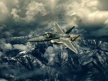 Modern US fighter plane. Computer Illustration - Modern US style jet fighters at high altitude in fast flight Royalty Free Stock Images