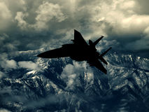 Modern US fighter plane. Silhouette  Computer Illustration - Modern US style jet fighters at high altitlutde in fast flight. Blurred motion background Stock Images
