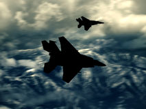 Modern US fighter plane. Silhouette  Computer Illustration - Modern US style jet fighters at high altitlutde in fast flight. Blurred motion background Royalty Free Stock Photography