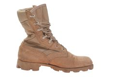 Modern used military boots Stock Photo