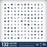 Modern user interface flat mono icons, pixels Royalty Free Stock Images