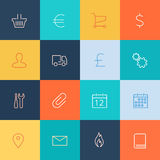 Modern user interface line icons, pixels perfect Stock Photos