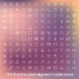 Modern user interface line icons, pixels perfect Royalty Free Stock Images