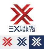 Modern utformad logo för ett sportigt företag bokstavslogo x royaltyfri illustrationer
