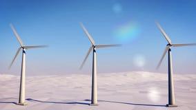Modern väderkvarn mot den blåa himlen stock video