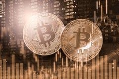 Modern väg av utbytet Bitcoin är lämplig betalning i globalt Arkivfoto