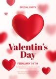 Modern valentin reklamblad för dagparti Fotografering för Bildbyråer