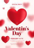 Modern Valentine's Day Party Flyer. Stock Image