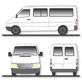 Modern van. Front, side and rear view of modern van; white background stock illustration