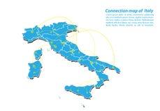 Modern van van de Kaartverbindingen van Italië het netwerkontwerp, Beste Internet-Concept de kaartzaken van Italië van concepten  stock illustratie