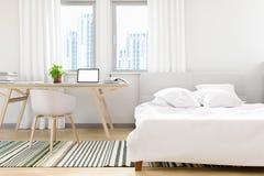 Modern van wit slaapkamer oud concreet ontwerp met laptop van het het werkpark omhoog spot, 3D geeft beeld terug Stock Foto