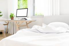 Modern van wit slaapkamer oud concreet ontwerp met laptop van het het werkpark omhoog spot, 3D geeft beeld terug Royalty-vrije Stock Foto