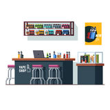 Modern vape shop with counter desk and storefront. Modern vape shop interior design with counter desk, chairs and storefront full of vaping liquid bottles Stock Photo