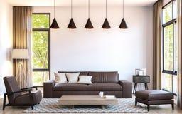 Modern vardagsrum dekorerar med brun bild för tolkning för lädermöblemang 3d Arkivbilder