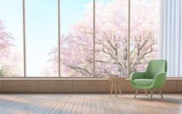 Modern vardagsrum dekorerar rum med den wood bilden för tolkningen 3d Royaltyfri Foto