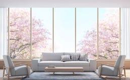 Modern vardagsrum dekorerar rum med den wood bilden för tolkningen 3d Royaltyfri Bild