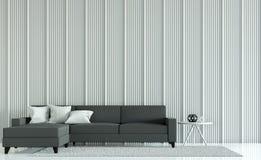 Modern vardagsrum dekorerar väggar med trätolkningbild för galler 3D Royaltyfri Bild