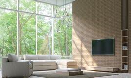 Modern vardagsrum dekorerar väggen med bild för tolkning för tegelstenmodell 3d Royaltyfri Fotografi