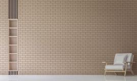 Modern vardagsrum dekorerar väggen med bild för tolkning för tegelstenmodell 3d Royaltyfria Bilder