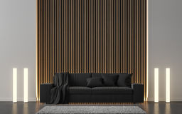 Modern vardagsrum dekorerar väggen med trätolkningbild för galler 3d Arkivbilder
