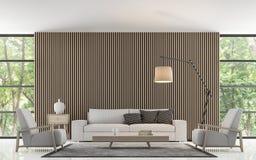 Modern vardagsrum dekorerar väggen med trätolkningbild för galler 3d Arkivbild