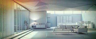 Modern vardagsrum för inredesign Fotografering för Bildbyråer