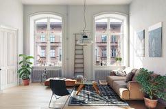 Modern vardagsrum I Arkivfoton