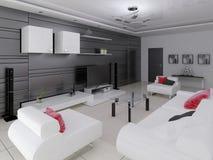 Modern vardagsrum i högteknologisk stil vektor illustrationer