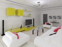 Modern vardagsrum i högteknologisk stil med funktionellt möblemang stock illustrationer