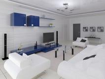 Modern vardagsrum i högteknologisk stil med stilfullt funktionellt möblemang stock illustrationer