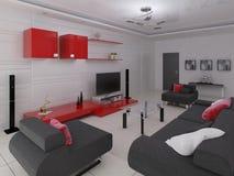 Modern vardagsrum i högteknologisk stil med trendigt funktionellt möblemang vektor illustrationer