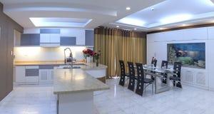 Modern vardagsrum i lyxiga lägenheter Arkivbild