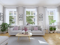Modern vardagsrum i radhus framförande 3d Royaltyfria Bilder