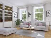 Modern vardagsrum i radhus framförande 3d Arkivfoton