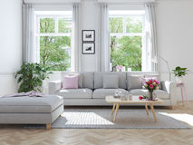 Modern vardagsrum i radhus framförande 3d Royaltyfri Bild