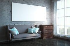 Modern vardagsrum med banret royaltyfria foton