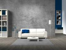 Modern vardagsrum med betongväggen Arkivbilder