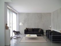 Modern vardagsrum med betongväggen Royaltyfria Foton