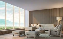 Modern vardagsrum med bild för tolkning för bergsikt 3d Arkivbilder