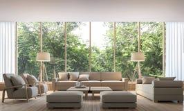Modern vardagsrum med bild för tolkning för natursikt 3d Royaltyfri Bild
