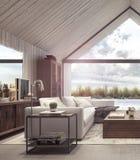 Modern vardagsrum med blick på trädgård med pölen och trädgården royaltyfri illustrationer