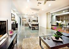 Modern vardagsrum med dörringången och hallavstånd royaltyfri foto
